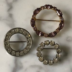 🔥 Bundle of 3 Vintage Rhinestone Circle Brooches
